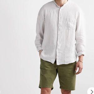 Hartford Slub Linen Bandcollar Shirt